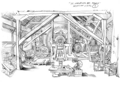 Concept Art de la película 'El Laberinto del Fauno' . Concept de Raúl Monge