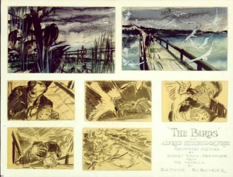 Storyboard de 'The Birds' dibujado por el diseñador de producción Robert F. Boyle.