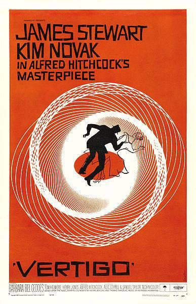Cartel para la película Vértigo (1958) de Alfred Hitchcock realizado por Saul Bass